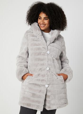 Nuage - Manteau réversible à capuchon, Argent,  manteau, capuchon, réversible, fausse fourrure, nylon, boutons, automne hiver 2019