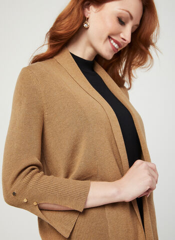 Open Front Knit Cardigan, Brown, hi-res