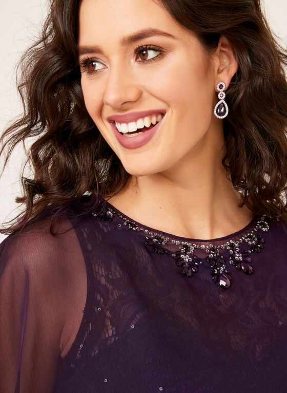 Chiffon Poncho Sequin Lace Gown Duo, Purple, hi-res
