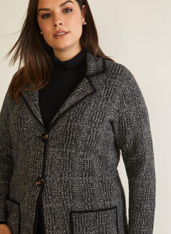 Tartan Print Cardigan Jacket, Grey