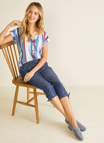 T-shirt rayé en lin, Bleu,  t-shirt, bouton, rayures, lin, printemps été 2020