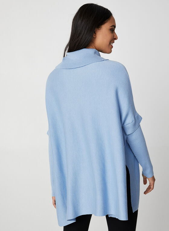 Knit Poncho Top, Blue