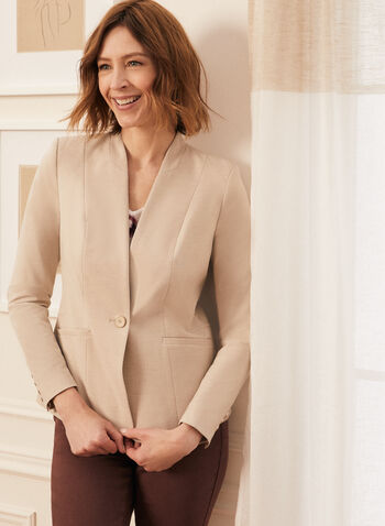 One-Button Closure Blazer , Off White,  blazer, long sleeves, button closure, shoulder pads,