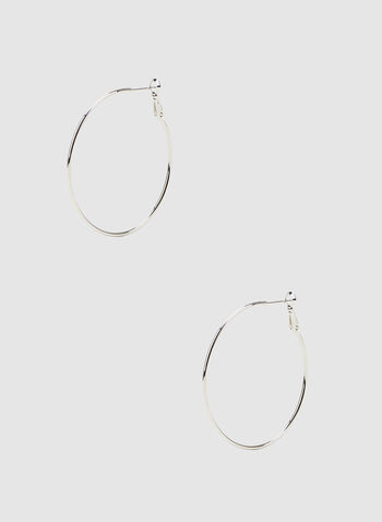 Metallic Hoop Earrings, Silver, hi-res