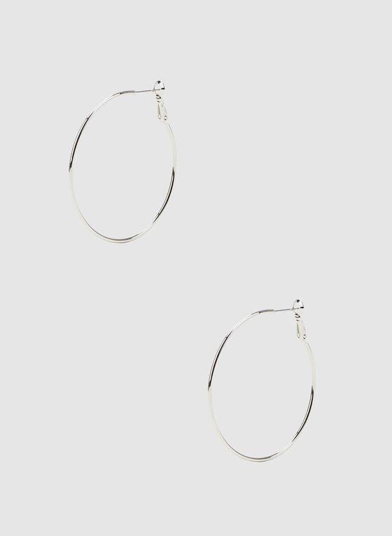 Metallic Hoop Earrings, Silver, hi-res