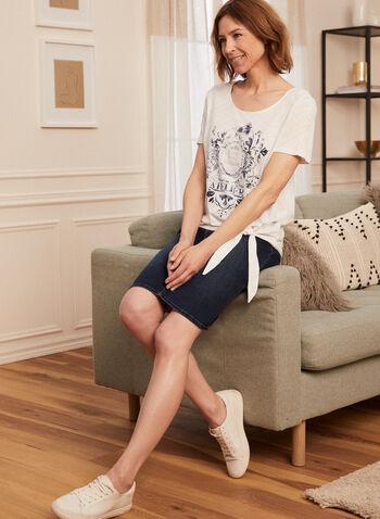 T-shirt noué à détails en dentelle, Blanc,  t-shirt, coton, modal, manches courtes, dentelle, appliqué, printemps été 2020