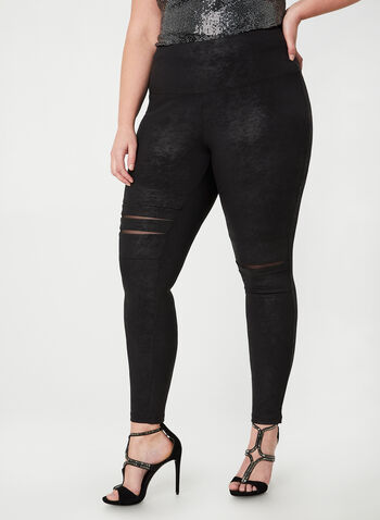 Joseph Ribkoff - Cutout Leggings, Black,  leggings, cutout detail, mesh, pull-on, slim legs, elastic waist, fall 2019, winter 2019