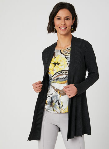 Edge To Edge Ribbed Cardigan, Grey, hi-res