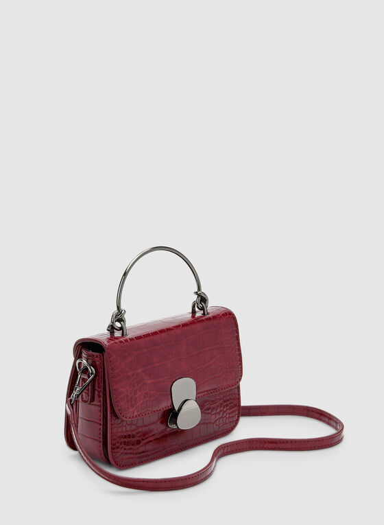 Crocodile Print Handbag, Red, hi-res