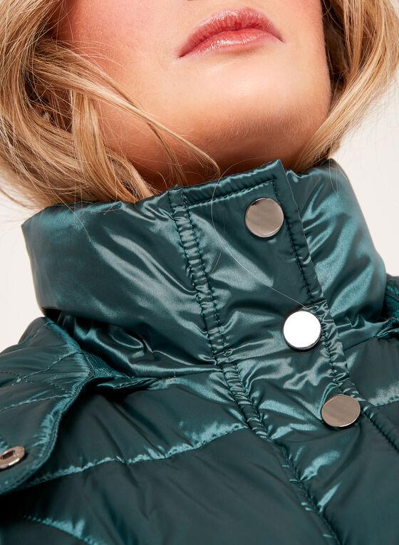 Manteau matelassé avec capuchon en fausse fourrure, Vert, hi-res