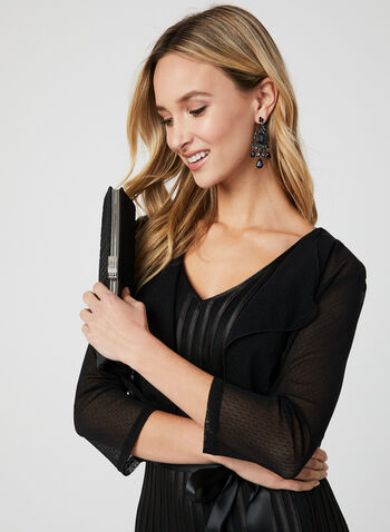 ¾ Sleeve Mesh Bolero, Black, hi-res,