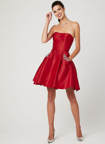 Strapless Satin Party Dress, Red, hi-res
