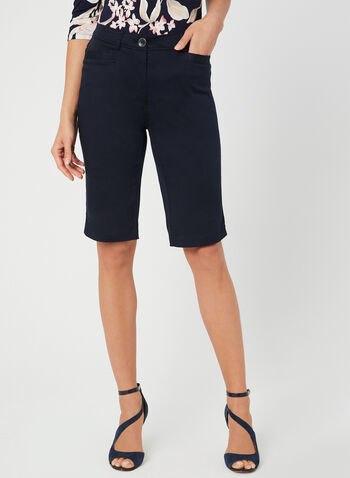 Modern Fit Bermuda Shorts, Blue, hi-res,  walking shorts, sateen, spring 2019