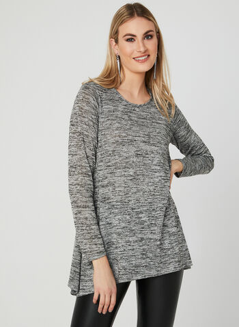 ¾ Sleeve Asymmetric Tunic , Grey, hi-res