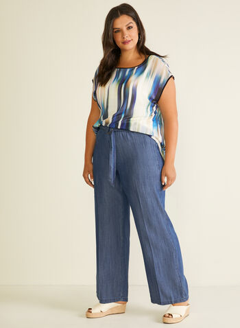 Belted Wide Leg Tencel Pants, Blue,  pants, wide leg, modern fit, tencel, belt, spring summer 2020
