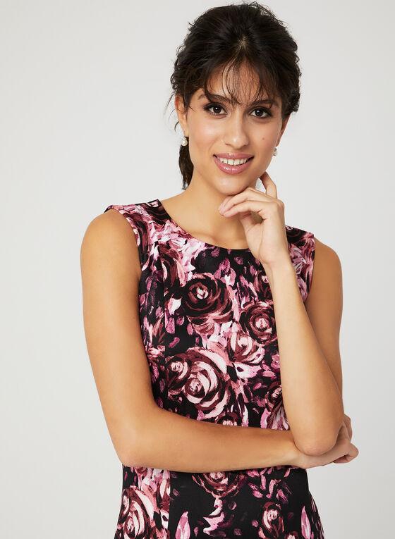 Robe fourreau à motif floral, Noir, hi-res