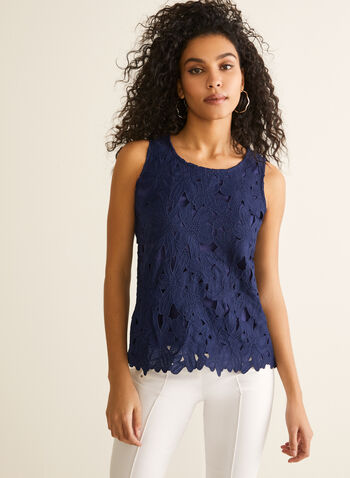 Sleeveless Floral Lace Top, Blue,  top, sleeveless, scoop neck, lace, floral, layered, spring summer 2020