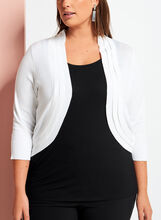 Triple Pleat Knit Bolero, White, hi-res