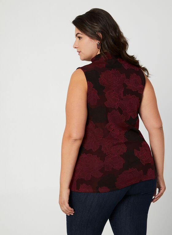 Floral Mock Neck Top, Red