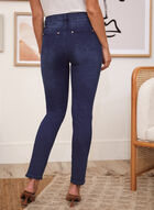 Pocket Chain Slim Leg Jeans, Blue