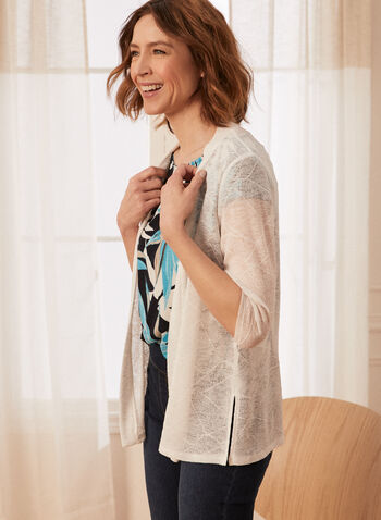 3/4 Sleeve Cardigan, White,  spring summer 2021, cover up, made in Canada, knit,