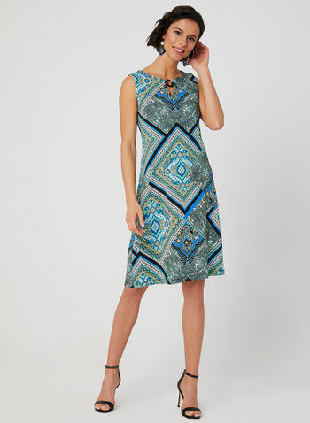 Paisley Lace Print Dress, Blue, hi-res