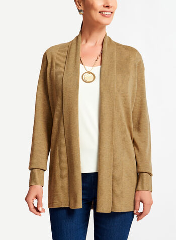 Knit Shawl Collar Cardigan , , hi-res