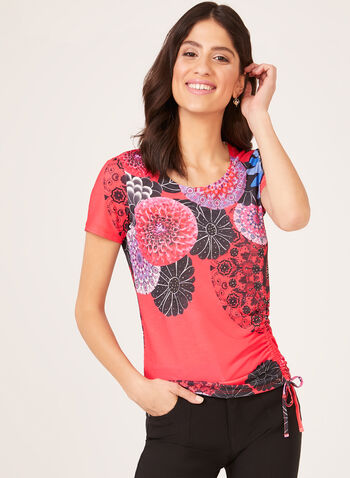 Scoop Neck T-Shirt With Drawstring, Red, hi-res