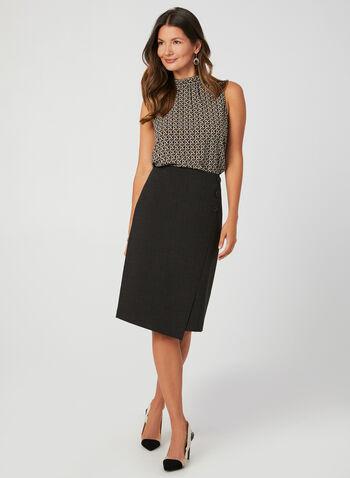 Crew Neck Geometric Print Blouse, Black, hi-res,  sleeveless top, sleeveless blouse,