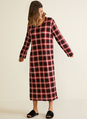Tartan Print Nightgown, Red,  sleepwear, nightshirt, nightgown, tartan, fall winter 2020