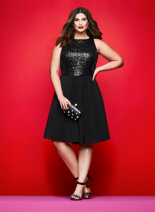 Sequin Embellished Crepe Dress, Black, hi-res