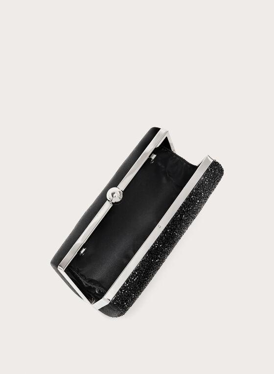 Minaudière rectangulaire à perles, Noir, hi-res