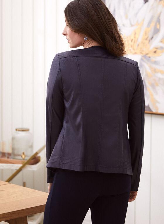 Faux Suede Open Front Jacket, Blue