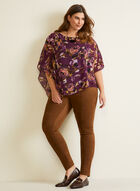 Floral Print Asymmetric Blouse, Purple