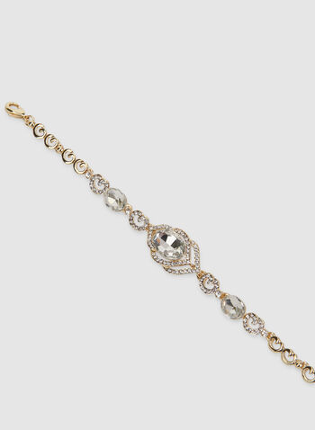 Crystal Detail Stone Bracelet, Gold, hi-res,  crystal bracelet, stone bracelet