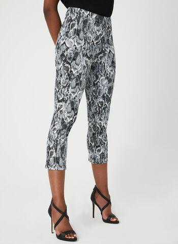 Snakeskin Print Capri Pants, Black, hi-res