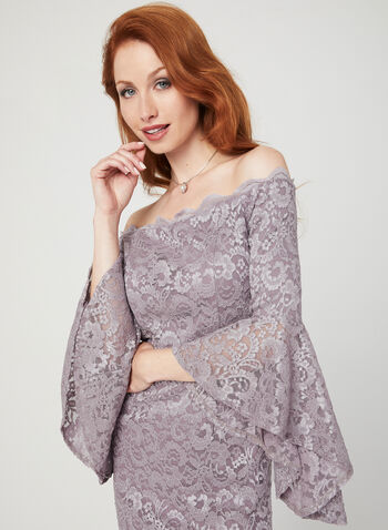 Glitter Lace Off The Shoulder Dress, Purple, hi-res