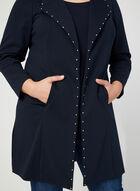 Stud Detail Open Front Jacket, Blue, hi-res