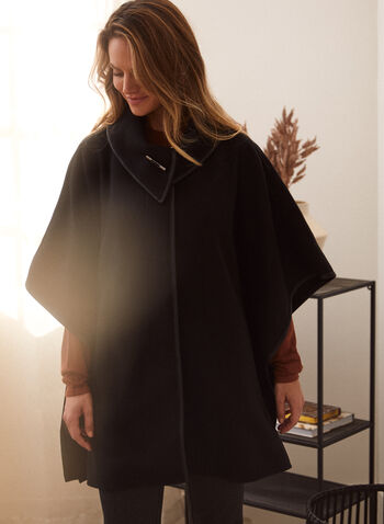 Stand Collar Cape, Black,  fall winter 2021, coat, knitwear, outerwear, shawl, stand collar, toggle closure, button, long sleeves,