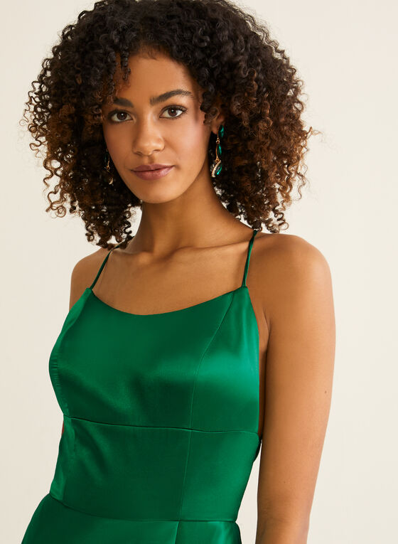 A-Line Satin Dress, Green