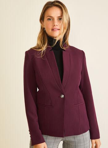 Veste à col cranté inversé et un bouton, Violet,  veste, tailleur, col cranté inversé, un bouton, automne hiver 2020
