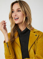Faux Suede Fitted Jacket, Brown, hi-res