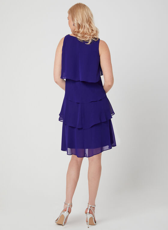 Tiered Chiffon Dress, Blue