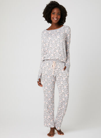 Pillow Talk - Heart Print Pyjama Set , Grey, hi-res