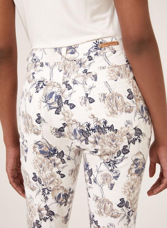 Simon Chang - Pantalon capri Signature à motif floral, Blanc, hi-res