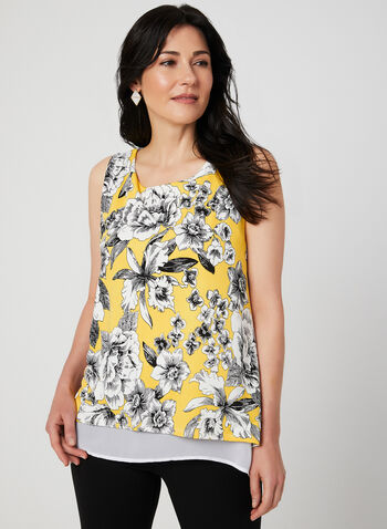 Floral Print Sleeveless Top, Yellow, hi-res,  sleeveless, layered, scoop neck, lined, fall 2019, winter 2019