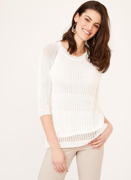 Pull tricot et crochet doublé, Blanc, hi-res