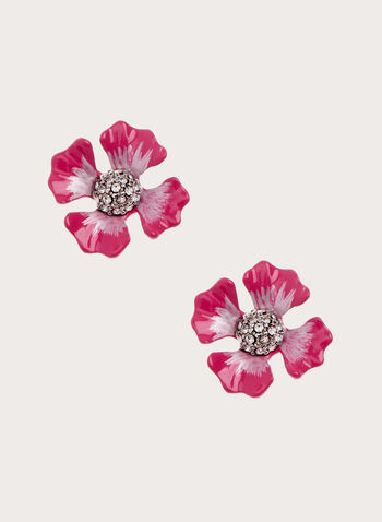 Flower Detail Stud Earrings, Red, hi-res