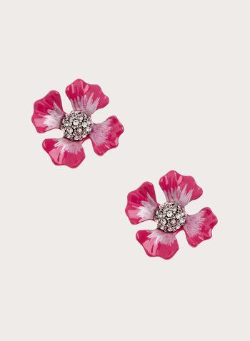 Clous d'oreilles à forme de fleurs, Rouge, hi-res
