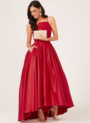 Fit & Flare Satin Ball Gown, Red, hi-res